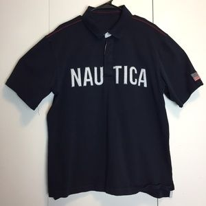 Vintage Nautica Usa Flag Spell Out Polo Shirt 90s
